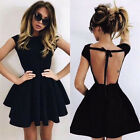 New Women Backless Summer Bandage Party Cocktail Club Mini Dress Black Gray