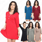New Womens Ladies Short Turn Up Sleeve 3 Button Maternity Swing Tunic Dress 8-22