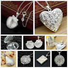 925 Sterling Silver Book Locket Pendant Necklace Photo Love Chain Gift Box