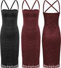 Womens Strappy Lace Lined Party Dress Ladies Sleeveless Bodycon Stretch 8-14