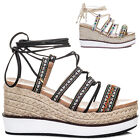 Womens Lace Up Embroidered Wedge Heel Sandals Shoes Sz 3-8