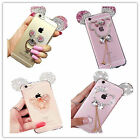 Cute Luxury Bling Diamonds Chrome Mickey Mouse Cat Bowknot Soft phone Case Cover