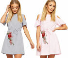 Womens Striped Cold Shoulder Floral Accent Short Sleeve Shirt Dress Ladies Belt