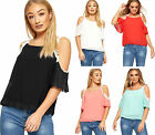 Womens Cold Shoulder Short Sleeve Lace Trim Chiffon Lined Top Ladies Floral New