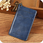 Card Holder Leather New Credit Card id Key Chain Ring Slim Thin Wallet Men Women