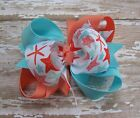 Coral & Ocean Blue Starfish Beach Triple Loop Grosgrain 3 inch Boutique Hair Bow