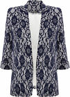 Womens Lace Blazer Ladies Floral Lined 3/4 Sleeve Fitted Faux Pocket Jacket