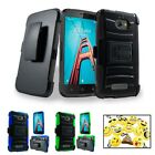 For CoolPad Defiant Hybrid Armor KickStand Holster Clip Protective Cover Case +