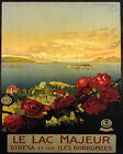 POSTER LAKE MAGGIORE BORROMEAN ISLANDS ROSES ITALY TRAVEL VINTAGE REPRO FREE S/H