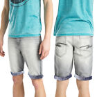 Threadbare Mens Paisley Printed Turn Up Hem Designer Bleached Denim Jeans Shorts