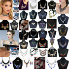 Fashion Women Crystal Necklace Bib Choker Chunky Statement Pendant Chain Jewelry