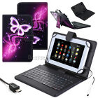 """US Gift For 10"""" 10.1"""" inch Tablet Pattern Leather Case Cover Micro USB Keyboard"""