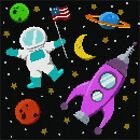 Outer Space Needlepoint Kit or Canvas (Moon /Kids)