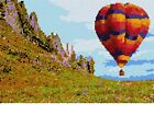 Hot Air Balloon Over Valley Needlepoint Kit or Canvas