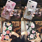 iPhone 5S SE 6 7 Plus Rubber Rotat Ring Ears Cherry Bling Daisy Flower TPU Cover