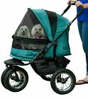 Pet Gear NO-ZIP Double Pet Stroller in BOYSENBERRY or PINE GREEN - dogs to 90 lb