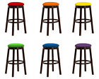 "ESPRESSO WOOD AND METAL BAR STOOL IN 24"" & 28"" WITH COLORFUL VINYL SEAT CUSHION"