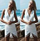 US Summer Womens Tassel V Neck Mini Dresses Casual Beach Sundress Sleeveless