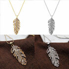 Lady Charm Rhinestone Crystal Necklace Sweater Chain Feather Pendant Gold/Silver