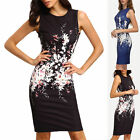 Flower Sleeveless Dress Bodycon Package Buttocks Printing Skirt Clothing Party