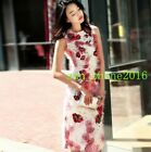 Women Bodaycon Fit Colorstitching Sleevless Emboridery Floral Knee Length Dress