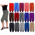 Women's Ladies Girls Plain Ali Baba 3/4 Harem Baggy Trousers Short Pants  8-14