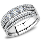 Stainless Steel 3 Round CZ & Accents Wedding Engagement Promise Band 2 Ring Set