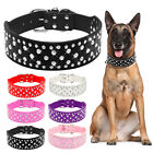 2.0 inch Crystal Diamond Rhinestone Dog Collar Durable PU Leather Pink Red Black