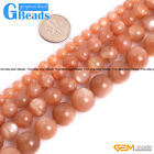 "Natural Grade AAA Rainbow Orange Sunstone Round Beads For Jewelry Making 15"" GB"