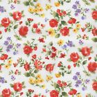 EMILY - RED AND YELLOW ON CREAM VINTAGE FLORAL 100% COTTON FABRIC