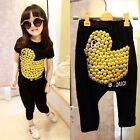 Lovely Baby Girls Kids Clothes Yellow Duck Pattern Top + Pants Outfits kids Sets