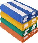 30 x 60 Inches Beach Towels Cabana Stripe 4&12 Pack Wholesale Lot Utopia Towels