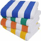 Large Beach Towel Pool Solid Cabana Stripe 4 Piece 30x60 Inches by Utopia Towels