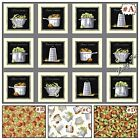 """QUILTING TREASURES / CHARLENE AUDRY """"CUISINE"""" POTS & VEGETABLES FABRIC (SELECT)"""