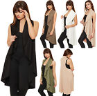 Womens Long Open Waterfall Cardigan Ladies Sleeveless Waistcoat Jacket Top 8-16