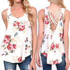 UK Women Floral Print T-Shirt Ladies Sleeveless Tank Tops O Neck Backless Blouse