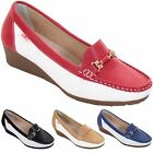 Ladies Slip On Moccasin Gold Chain Contrast Colour Small Wedge Loafer Shoes