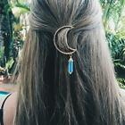 Moon Crescent Hair Clip Natural Crystal Pendant Hairpin Fashion Jewelry LVUK