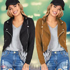 UK Womens Ladies Zipper Jackets Coat Faux Leather Cardigan Outwear Free Shipping