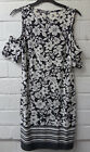 Womens Ladies New Cut Out Shoulder Black Butterfly Floral Summer Dress UK 8-16