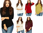 Womens Cable Knitted Jumper Top Ladies Polo Cowl Neck Long Sleeve Plain New 8-14