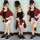 2PCS Toddler Kids Baby Girl Outfit Tops Tank T-shirt+Jeans Shorts Pants Clothes