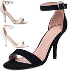Womens Wide Fit High Heel Stiletto Strappy Sandals Shoes Sz 3-8