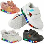New Kids Girls Babies LED Light Up Trainers Strappy Sneakers Toddler Shoes Size