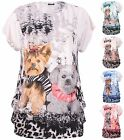 Womens Plus Size Top Diamante Dog Animal Printed Cap Sleeve Ladies Long T-Shirt