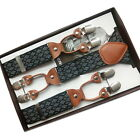 Fashion Men's Suspenders Clip Rhombic Pattern Trousers Braces Male Collection TY