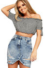 Womens Ripped Distressed Acid Wash Denim Mini Skirt Ladies New Pocket Zip Frayed