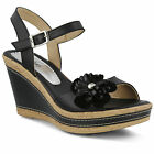New In Box Womens Azura CASOLA Black Leather Wedge Sandals CASOLA-B