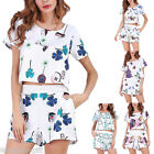2017 Womens Shirt Short 2PC Suits Floral Casual Holiday Beach Mini Playsuit HX