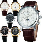 Men's AUTO Tourbillon Leather Strap With Date Moon Phase Mechanical Wrist watch